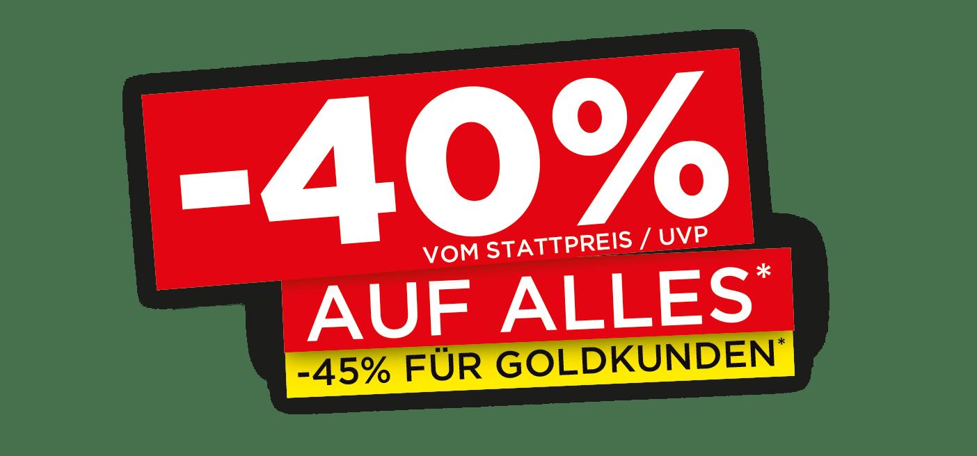 City Outlet Rabatt Aktion: 40% auf Alles   45% für Goldkunden