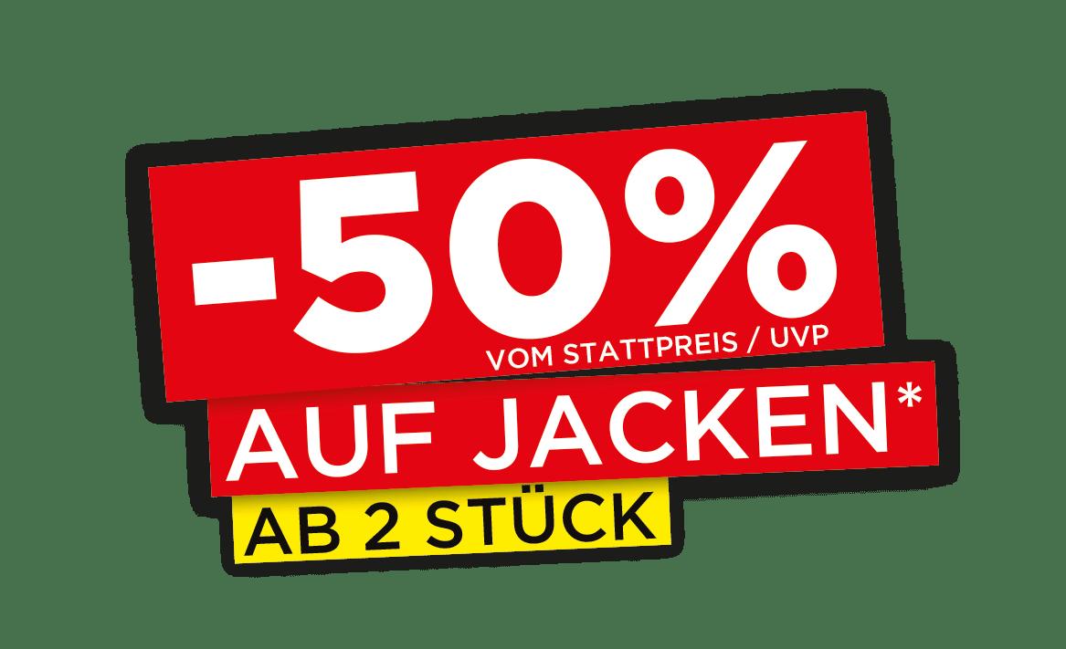 Aktionsbalken City Outlet Aktion 50% auf Jacken